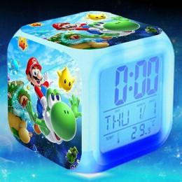 Zegar LED cyfrowy podświetlany budzik do pokoju dziecięcego na stolik nocny na baterie kabel USB w kształcie kostki