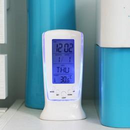 Cyfrowy kalendarz temperatury cyfrowy budzik LED zegar z niebieskim tylne światło elektroniczny LED noc oświetlenie biurka zegar