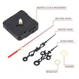 Zapasowy mechanizm zegara kwarcowego silnik i okucia-zestaw naprawczy DIY cicha czarna i czerwona wskazówka zestaw narzędzi napr