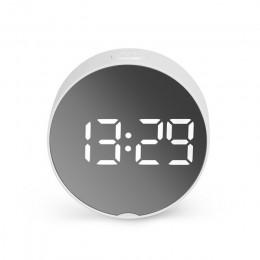 2020 okrągły lustrzany budzik Led zegar tablica cyfrowa zegar podświetlany nocny drzemka z temperaturą elektroniczny Despertador