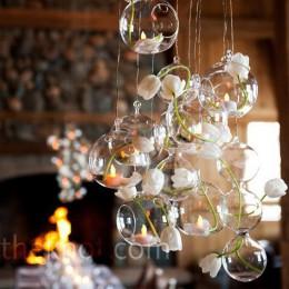 Ozdoby do zawieszenia szklane okrągłe kule do świec kwiatów lampek przezroczyste bezbarwne oryginalne modne