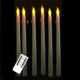 Zestaw 6 zdalnych lub nie zdalnego sterowania żółte światło długie plastikowe świece stożkowe, nie materiał woskowy 28 cm zdalne