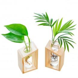 Gorąca sprzedaż szkła kryształowego probówki wazon w drewniany stojak doniczki na rośliny hydroponiczne dekoracja do przydomoweg