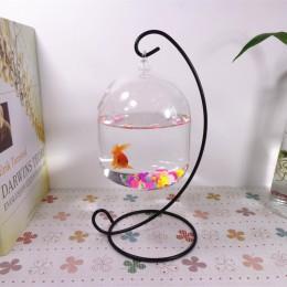 1PC uchwyt wiszący kryształowy Terrarium pojemnik bez szklany wazon kula garnek żelaza stojak uchwyt ozdobny Home Decor