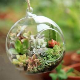 Terrarium Ball Globe Shape wyczyść szklana wisząca kwiat w wazonie rośliny pojemnik Ornament mikro element dekoracji krajobrazu