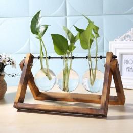 Szklany i drewniany wazon sadzarka Terrarium stół do komputera hydroponika drzewko Bonsai wiszące doniczki kwiat garnek z drewni