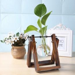 Szklany i drewniany wazon sadzarka Terrarium stół do komputera hydroponika drzewko bonsai doniczka wiszące doniczki z drewnianą