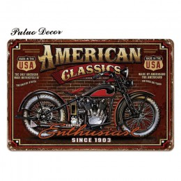 Motocyklowe znaki blaszane Retro metalowy znak tablica metalowa klasyczna ściana wystrój dla garażu Bar Pub człowiek jaskinia oz