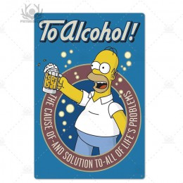 Simpson metalowy plakat Duff piwo metalowy znak zabawny znak dekoracje ścienne dla Bar Pub Club Man Cave ozdobny talerz dekoracj