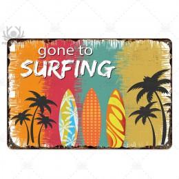 Plakietka plakietka z napisem Metal Vintage lato metalowy znak ścienny wystrój plażowy na plażę Bar dom na plaży nadmorski ozdob