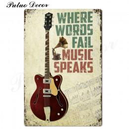 Rock & Roll znak blaszany Vintage metalowy znak plakietka metalowa Vintage metalowy plakat Retro Rock dekoracje ścienne dla Bar