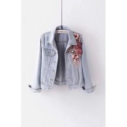 2019 jesień kobiety haft trójwymiarowe kwiaty perła koralik krótka drelichowa płaszcz kobieta z długim rękawem kurtka dżinsowa x