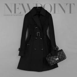 2019 nowych moda podwójne piersi średniej długi płaszcz kobiety Khaki wąski pasek płaszcz Mujer wiatrówka kobiet Abrigos brazyli