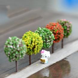 Miniaturowe drzewka z pąkami kwiatów białe żółte czerwone różowe ozdobne plastikowe