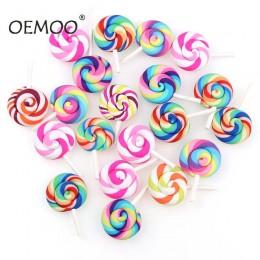 10 sztuk spirala Rainbow glina polimerowa Cabochons uroda Kawaii lizak Flatback dla DIY ozdoba do telefonu komórkowego