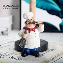 VILEAD 29.5cm żywica Chef dwuwarstwowy uchwyt na ręcznik papierowy figurki kreatywne domowe ciasto sklep restauracja rzemiosło o