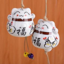 Ceramiczne Windchimes szczęście wisiorek z kotem wiatr kuranty ozdoba samochodu wiszące miniaturowe figurki dekoracji domu ceram