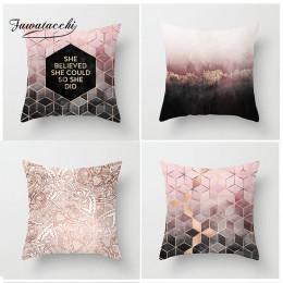 Fuwatacchi styl skandynawski obicia na poduszki różowy geometryczny poszewka na poduszke z nadrukiem poduszki dekoracyjne do dom