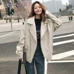 Aelegantmis Fashion szeroki płaszcz kobiety Faux skórzana kurtka wiosna jesień luźne Biker kurtki motocyklowe kobieta odzież w s