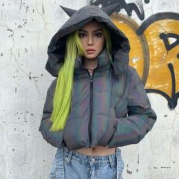 Chicology diabeł z kapturem odblaskowe bawełny wyściełane ciepła parka kobiety krótka kurtka 2019 zima płaszcz odzież wierzchnia