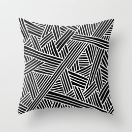 Nordic prostota czarny biały geometria rzuć poduszki poszewki na poduszki moda dekoracyjna duża w kratę łosia wystrój salonu dom