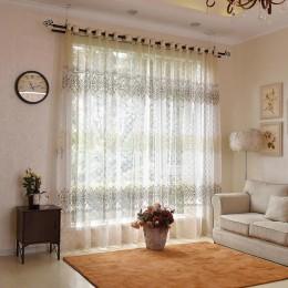 ENHAO Floral nowoczesne zasłony tiulowe do salonu sypialnia kuchnia prześwitujące firanki z woalu do tiulowe zasłony do okien za