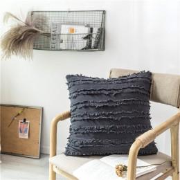 Biały obicia na poduszki kwiatowe frędzle kwadratowa poszewka na poduszkę żółty kości słoniowej szary bawełniana poszewka na pod