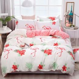 Przesilenie Cartoon różowy pościel flamingo ustawia 3/4 sztuk geometryczny wzór podszewki na łóżko kołdra pokrywa prześcieradło