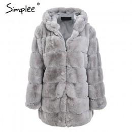 Simplee Vintage puszysta bluza z kapturem płaszcz ze sztucznego futra kobiety zimowa szara kurtka płaszcz kobieta Plus rozmiar c