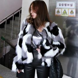 Zima nowa futrzana kurtka imitacja płaszcz duży rozmiar damski luźny okrągły dekolt krótki panie mieszany kolor płaszcz rozmiar
