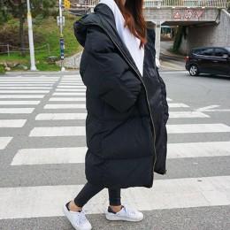 Jesień kurtka zimowa kobiety Parka ciepłe grube długie dół bawełna płaszcz kobiet luźna Oversize z kapturem kobiet płaszcz zimow