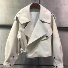 Sungtin kobiety Faux skórzana kurtka miękkie luźne w stylu Vintage Biker płaszcz krótki kieszenie silnika PU czarna kurtka jesie