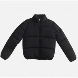 Zima zagęścić damskie krótkie parki płaszcz stałe stanąć kołnierz ciepła parka kobiet bawełny wyściełane 2020 moda kurtka pikowa