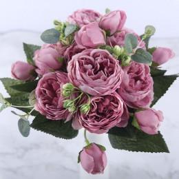 30cm róża różowa jedwabna piwonia sztuczny bukiet kwiatów 5 duża główka i 4 pączki tanie sztuczne kwiaty do dekoracji ślubnej do
