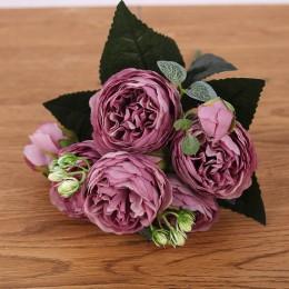 30cm różany różowy jedwabny bukiet piwonia sztuczne kwiaty 5 duża głowa 4 mały pączek ślub panny młodej dekoracja domu sztuczne