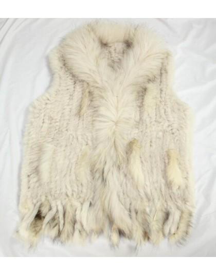 Harppihop darmowa wysyłka kobiet naturalne prawdziwe futro z królika kamizelka z kołnierz z futra szopa kamizelka/kurtki królik