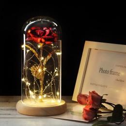 6 kolorów piękna i bestia czerwona róża w szklanej kopule na drewnianej podstawie na walentynkowe prezenty róża led lampki świąt