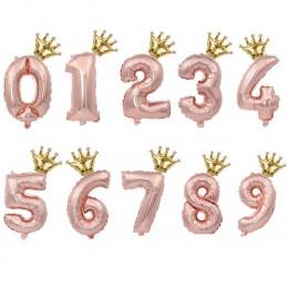 2 sztuk 32 cal Rainbow balony foliowe w kształcie cyfr balon dmuchany dekoracje na imprezę urodzinową dla dzieci różowe złoto ró