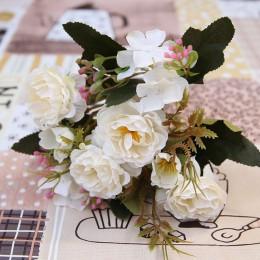 Piwonia DIY strona dekoracji jedwab, w stylu vintage sztuczne małe kwiaty róża ślubne sztuczne kwiaty materiały świąteczne bukie
