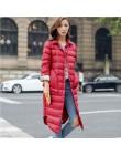 Kobieta zima wyściełane ciepły płaszcz Ultra Light kaczka w dół kurtki długi płaszcz kobiet szczupła stałe płaszcz zimowy przeno