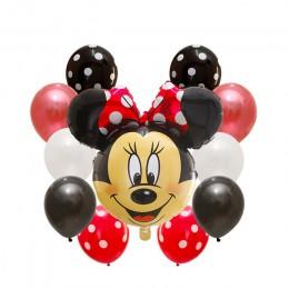14 sztuk dekoracja urodzinowa lateksowy balon Mickey Minnie Mouse serce folia balon Baby Shower balon w kształcie cyfry dzieci p