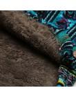Versear kurtka damska pluszowy płaszcz kobiety wiatrówka ciepła odzież zimowa kwiatowy Print z kapturem kieszenie Vintage płaszc