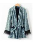 2020 niebieski nadruk Kimono kurtka z piór rękawy szerokie nogawki luźne Cuasal spodnie damskie ubrania vintage garnitury