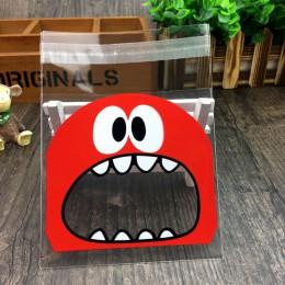 50 sztuk śliczne duże Teech usta potwór plastikowa torba ślub urodziny Cookie cukierki opakowanie na prezenty torby OPP samoprzy