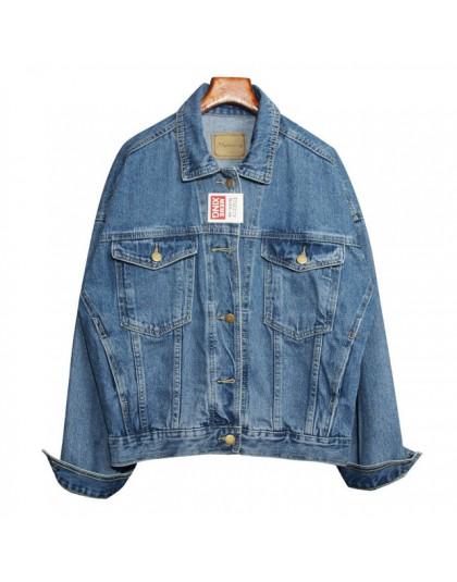 Vintage kobiety kurtka 2019 jesień zima Oversize Denim kurtki sprany niebieski Jeans płaszcz skręcić w dół kołnierz znosić Bombe