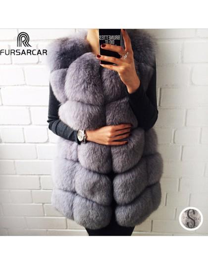 FURSARCAR prawdziwe futro naturalne kamizelki damskie futro z lisa 2019 nowa luksusowa kobieta futro kurtka ciepłe grube długie