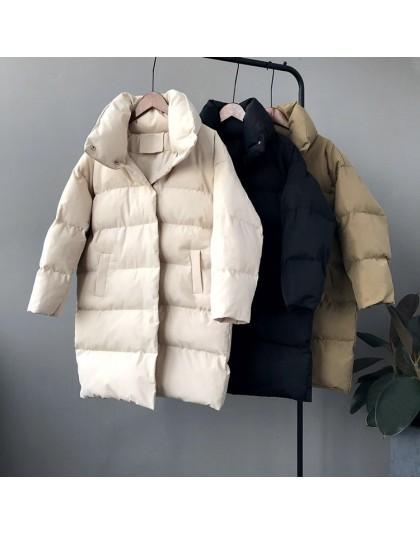 RICORIT 2019 nowa zimowa bluza z długim rękawem solidna kolorowa bawełniana ocieplana ciepła luźna długa kurtka pikowana parki d