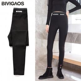 BIVIGAOS 2019 kobiety jesień nowe wysokiej talii litery czarne legginsy Skinny Slim elastyczne spodnie ołówkowe Sport Sexy Leggi