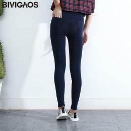 BIVIGAOS kobiety dżinsy legginsy dorywczo mody Skinny Slim myte Jeggings cienki wysoki denim elastyczny Legging ołówek spodnie d