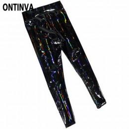 Damskie legginsy wyglądające na mokre PU skórzane legginsy czarne szczupłe długie spodnie damskie M L XL XXL wysokiej talii Wetl